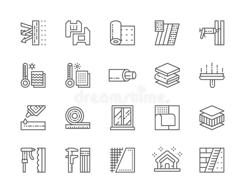 Set of Insulation Line Icons. Insulated Wall, Pvc Window, Glue, Caliper and more. Set of Insulation Line Icons. Insulated Wall, Pvc Windows, Construction Foam royalty free illustration