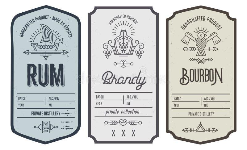 Set intage butelki etykietki projekt z etnicznymi elementami w cienkim kreskowym stylu ilustracja wektor