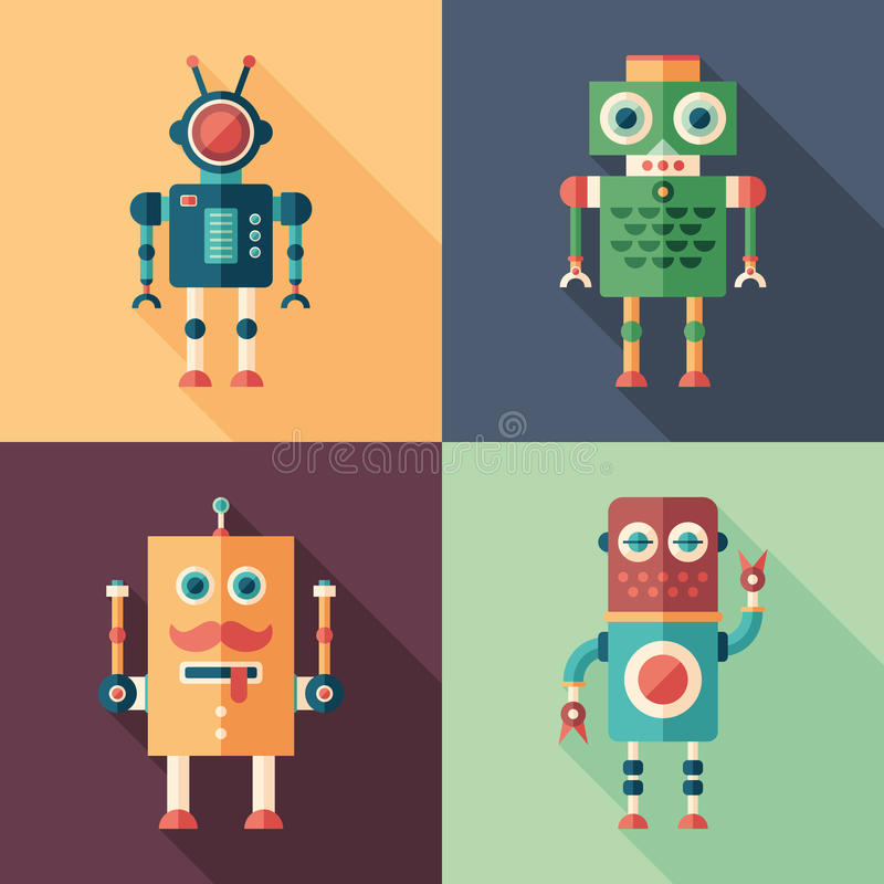 Set of intelligent robots flat square icons with long shadows. Intelligent robots. Colorful flat square icons stock illustration