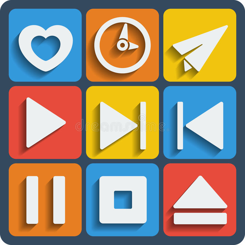 Set of 9 interface web and mobile icons. Vector. Set of 9 interface vector web and mobile icons in flat design royalty free illustration
