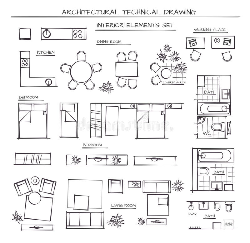 Set Of Interior Elements. Professional Architectural Vector Set Of Interior Elements. Plan View stock illustration