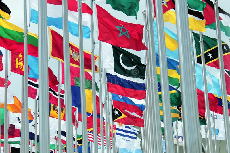 Set of International Flags stock images