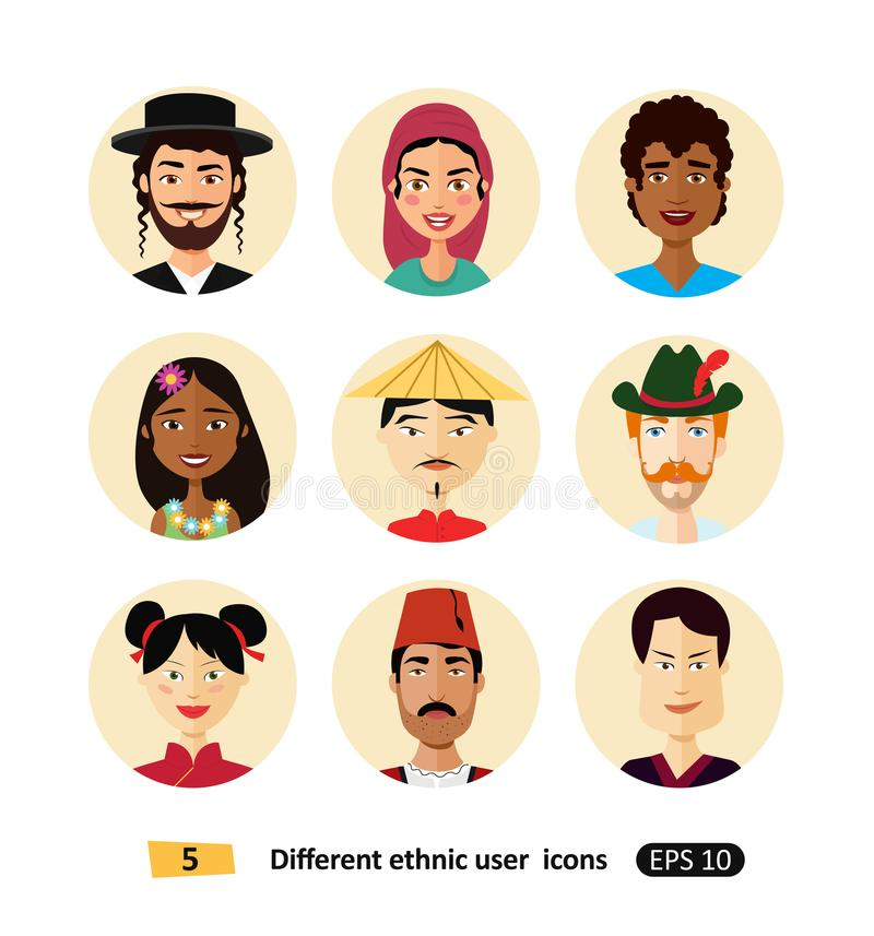 Set of international man and woman people avatar icon dressed in national clothes flat users icons vector illustration