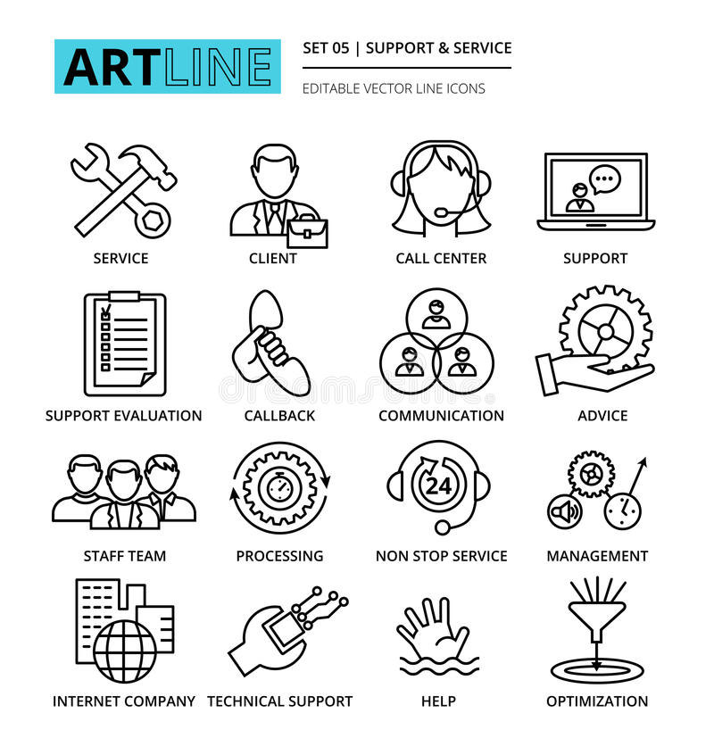 Set of internet company services and clients support icons. Modern editable line vector illustration, set of internet company services and clients support icons stock illustration