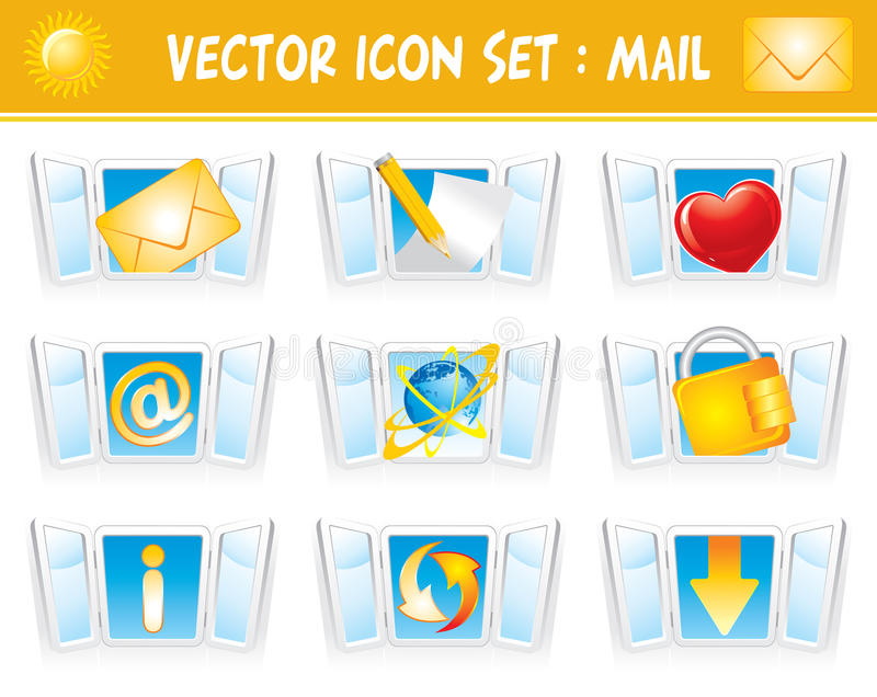 Set internet mail icons stock illustration