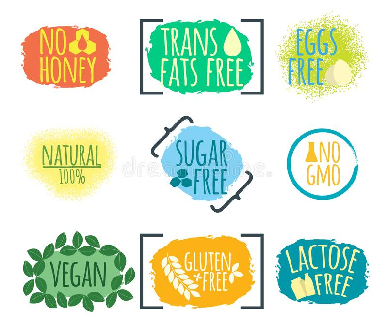 Set of Intolerance Food label. Healthy and Organic Food. Font with Brush. Food Intolerance Symbols and Badges. Vector illustration. Icon vector illustration