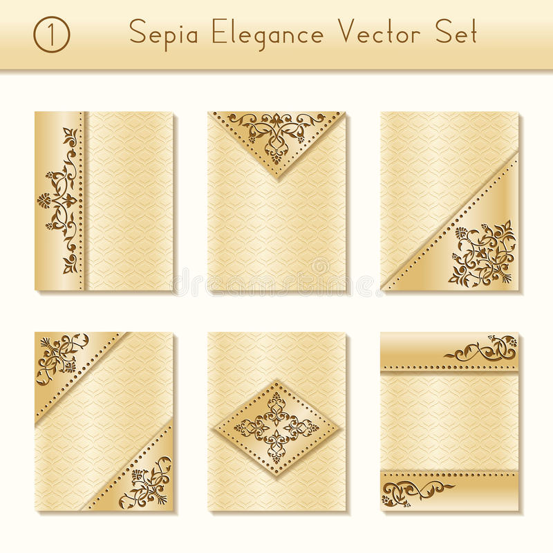 Set of intricate sepia brochure designs royalty free illustration