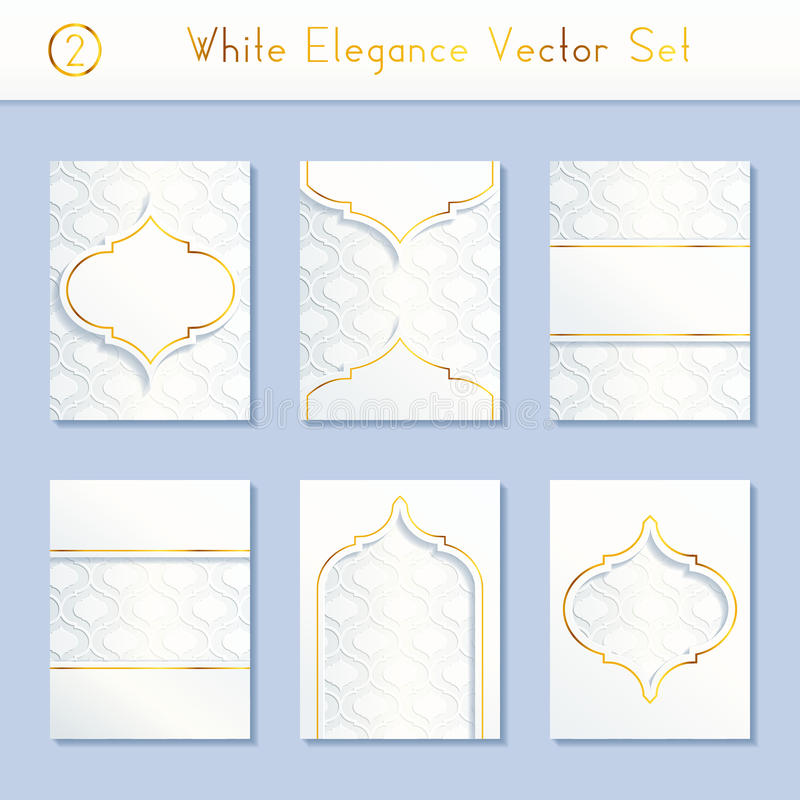 Set of intricate white brochure designs royalty free illustration