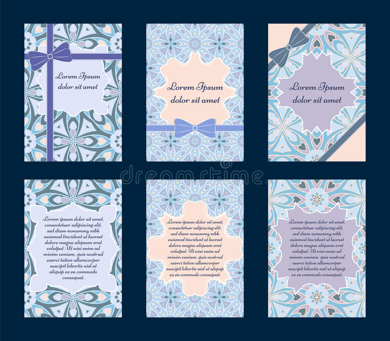 Set of invitation cards. Set of vintage greeting cards with ethnic ornament. Can be used for Save The Date, baby shower, day of Mothers or Valentines and royalty free illustration