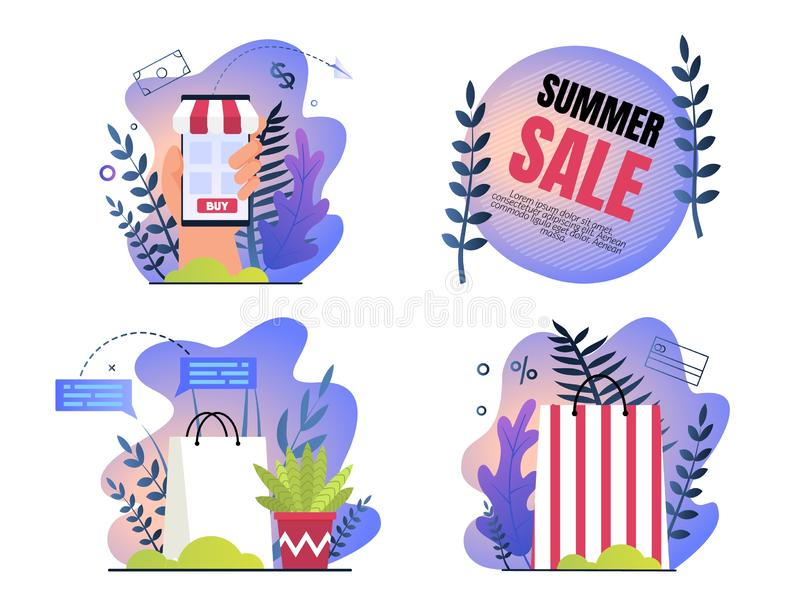 Set Invitation Poster is Written Summer Sale. Special Hot Sale and Offer Consumer Goods at Bargain Price in Online Stores and Shopping Centers. Eco Shopping stock illustration
