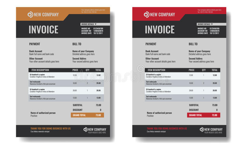 Set of Invoice template sample with trendy minimalism design. vector illustration
