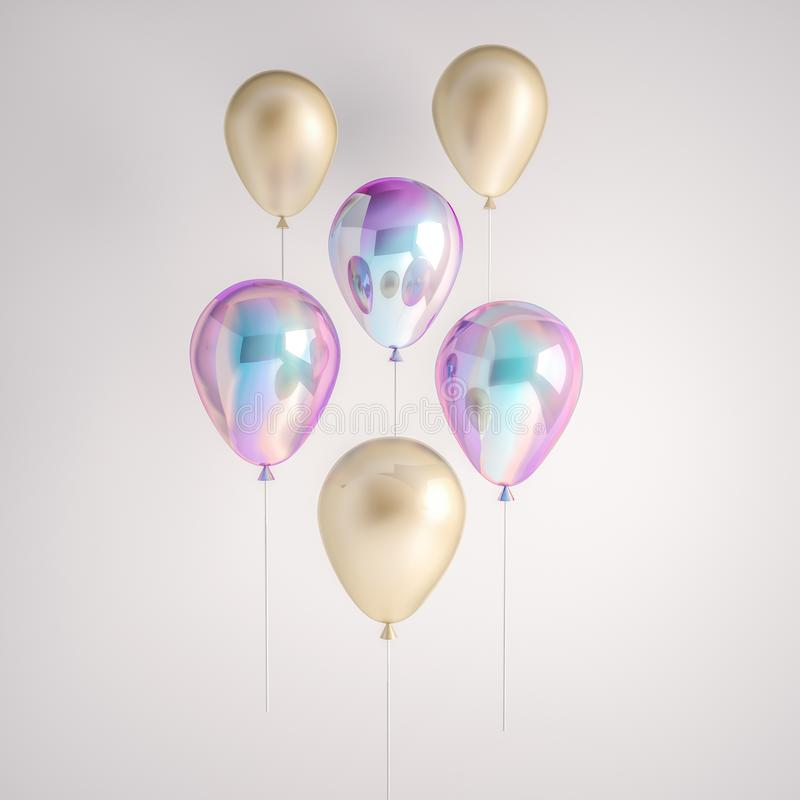 Set of iridescence holographic and gold foil balloons isolated on gray background. Trendy realistic design 3d elements for birthda royalty free illustration