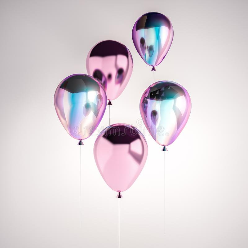 Set of iridescence holographic and pink foil balloons isolated on gray background. Trendy design 3d elements for birthday, present stock illustration