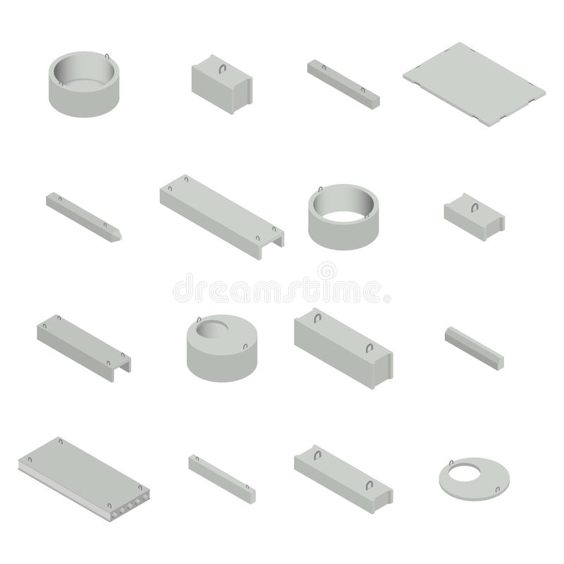 Set the iron concrete products isometric, vector illustration. stock illustration