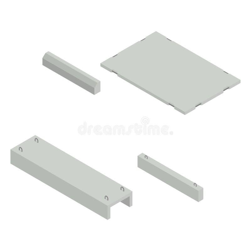 Set the iron concrete products isometric, vector illustration. royalty free illustration