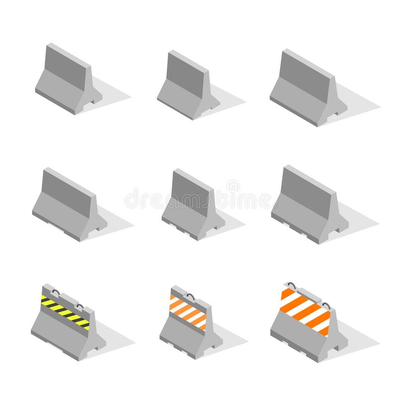 Set of iron concrete road barriers in 3D, vector illustration. vector illustration