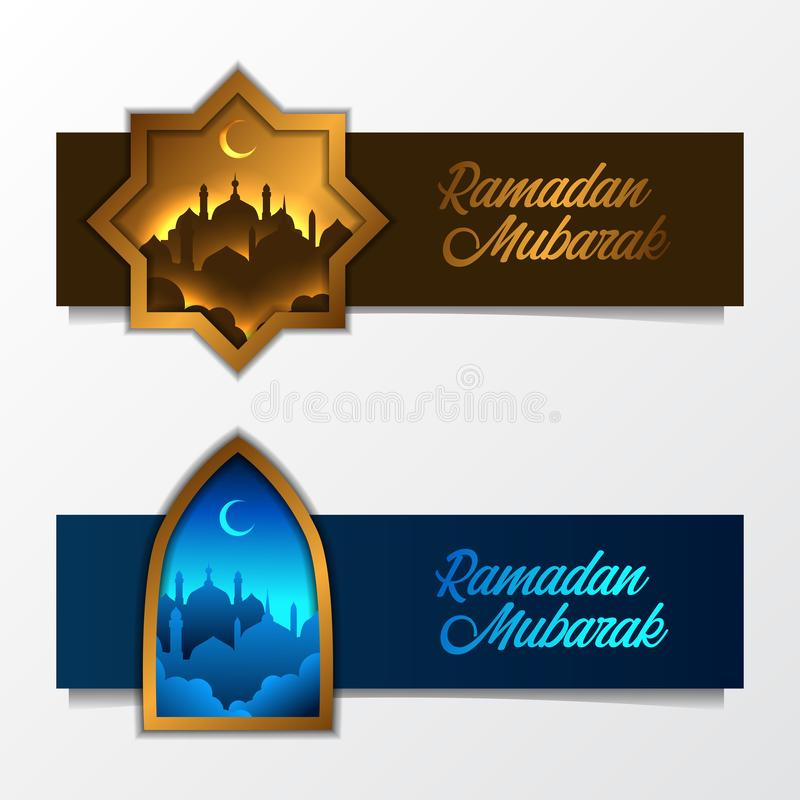 Set of islamic banner luxury template with mosque silhouette with golden frame window stock illustration