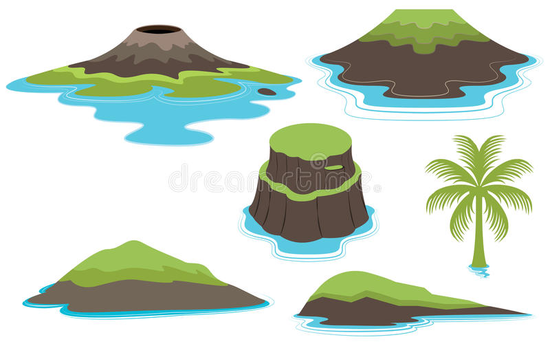Set of Islands and Valcano vector illustration