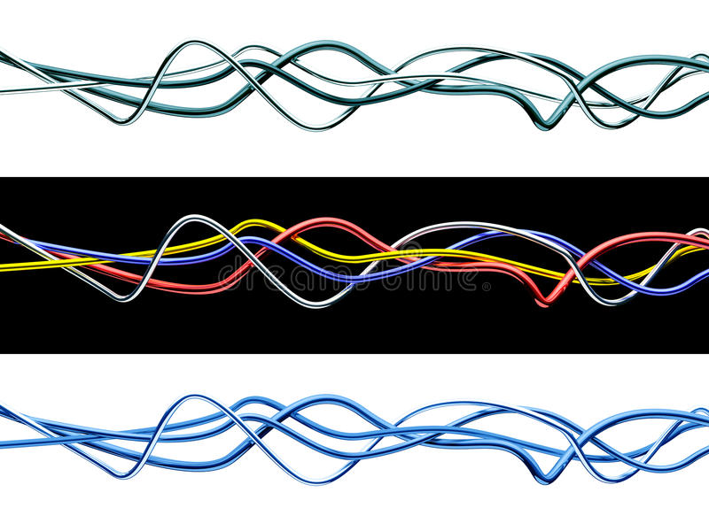 Set Of Isolated 3d Multicolored Cables. Stock Photo