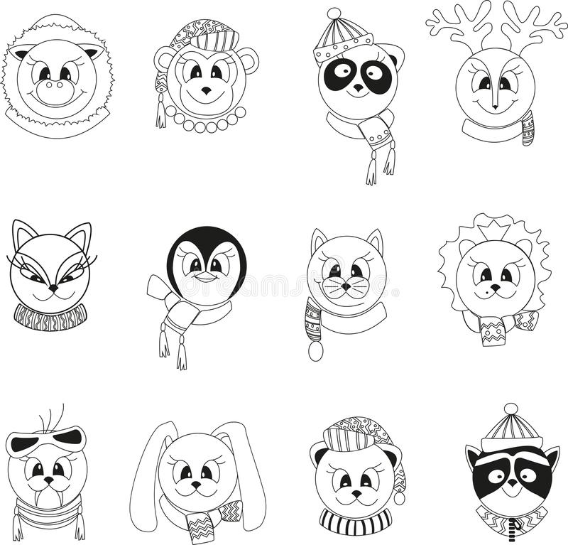 Set of isolated black and white cartoon animals in winter clothes. royalty free illustration