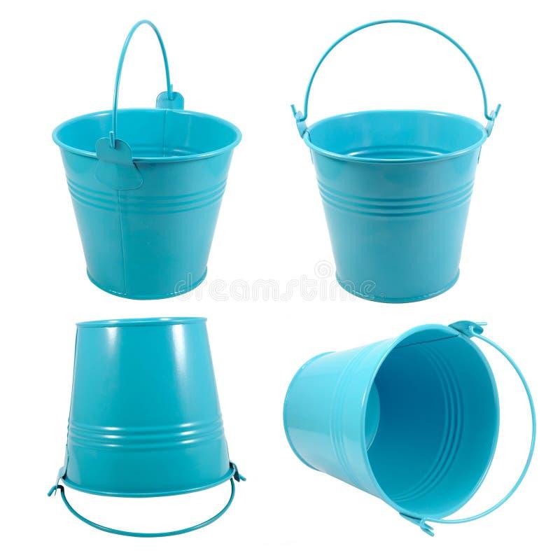 Set isolated blue metal bucket with handle stock image