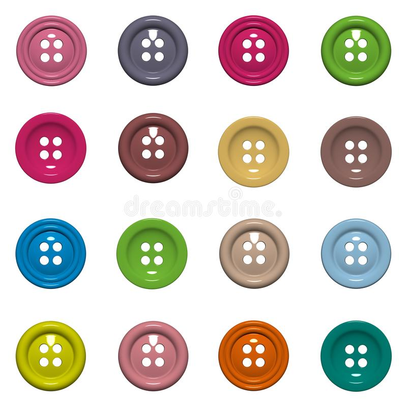 Set of 16 isolated buttons on white background stock image