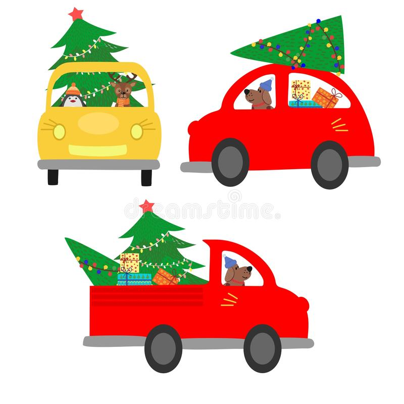 Set of isolated cars carrying a Christmas tree. The machine gives a Christmas tree to decorate the house. Colorful vector illustra vector illustration