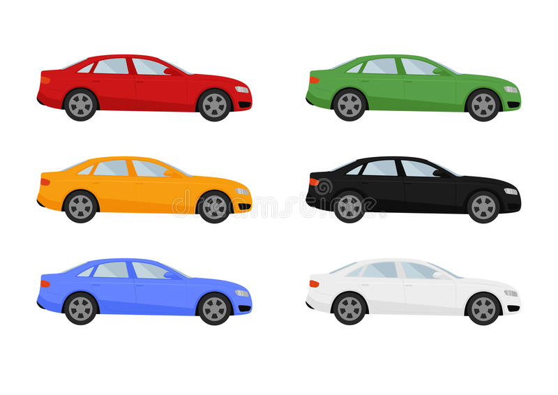 Set of isolated cars of different colors. Vector set of isolated cars of different colors stock illustration