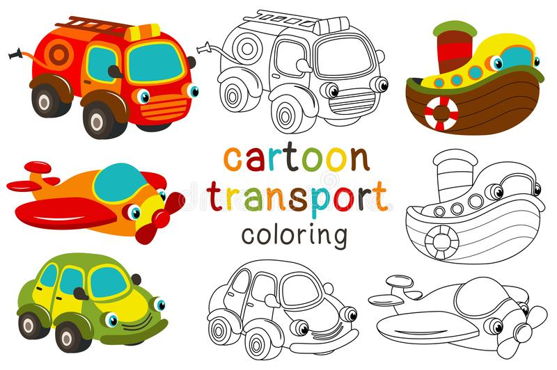 Set of isolated cartoon transport with eyes part 1 vector illustration