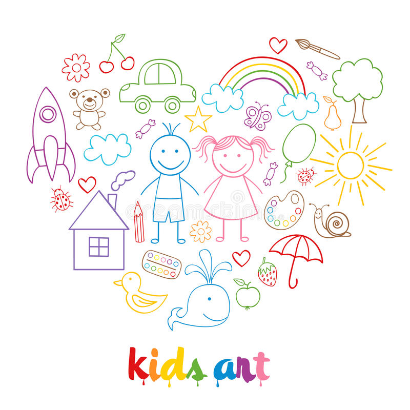 Set of isolated child drawings royalty free illustration