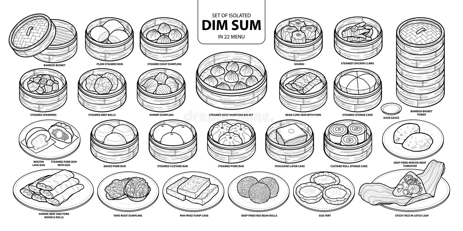 Set of isolated Chinese food, Dim Sum in 22 menu. Cute hand drawn food vector illustration in black outline and white plane. Set of isolated Chinese food, Dim royalty free illustration