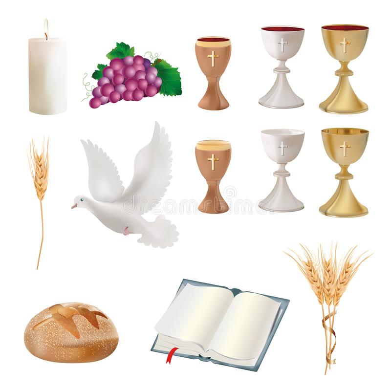 Free Set Isolated Christian Symbols - Chalice, Grapes, Bread, Bible, Dove, Candle, Ears Of Wheat Stock Photo - 115325080