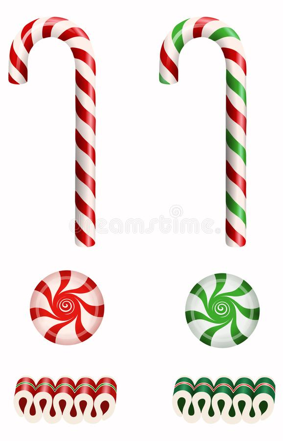 Free Set Isolated Christmas Candies With Candy Canes, Ribbon Candies And Starlight Peppermint Candies Stock Images - 164140314