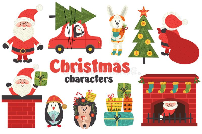 Set of isolated Christmas characters part 1 royalty free illustration