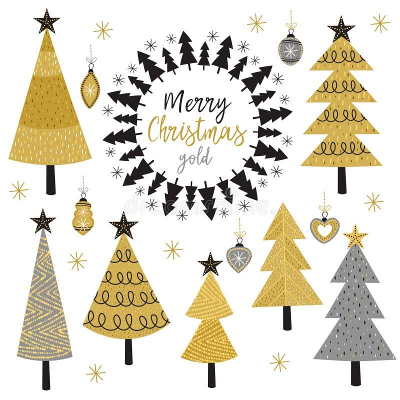 Set of isolated Christmas gold tree royalty free illustration