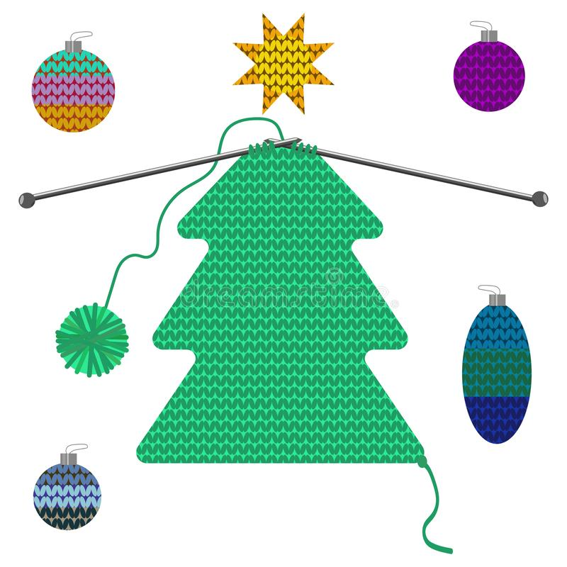 Set of isolated Christmas tree and decoration of knitted texture on wooden background. Vector drawing can be used for design of postcards, posters, advertising royalty free illustration