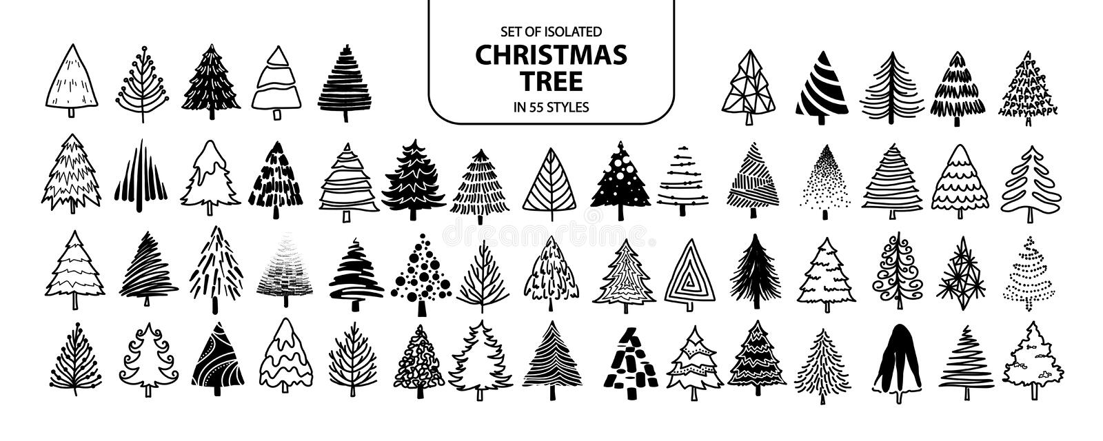 Set of isolated Christmas tree in 55 styles stock illustration