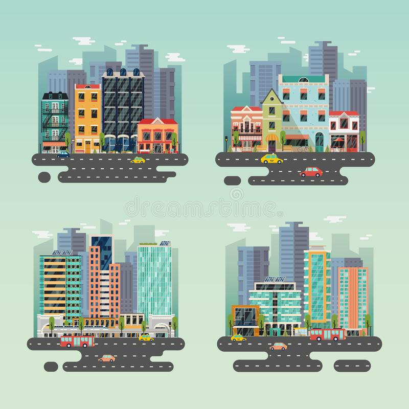 Streets of city or town with skyscrapers and cars. Set of isolated cityscapes with skyscrapers. Streets of metropolis with taxi car and bus, side view on urban royalty free illustration