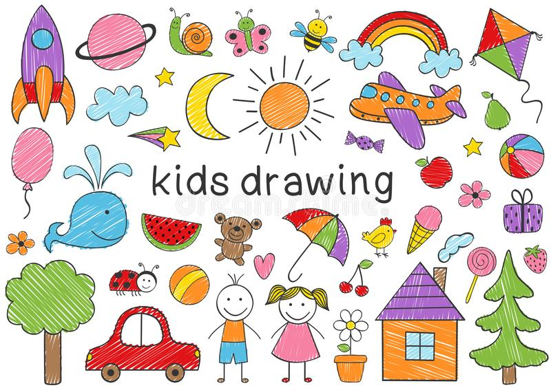 Set of isolated colored kids drawing vector illustration