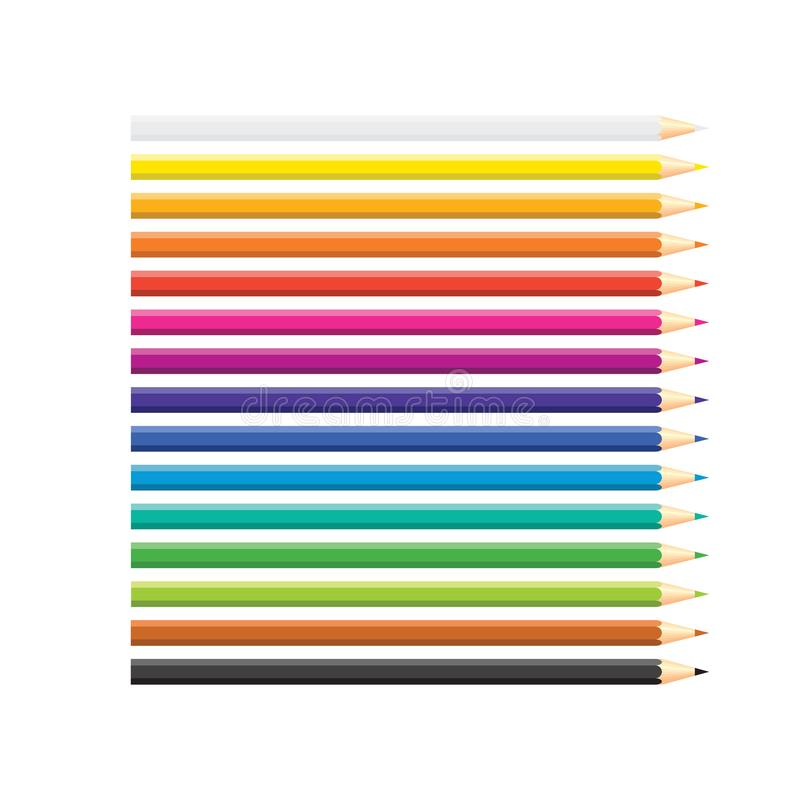 Set of isolated colored pencils arranged in row on white background. Rainbow colors. Yellow, orange, blue, green, pink, purple, stock illustration