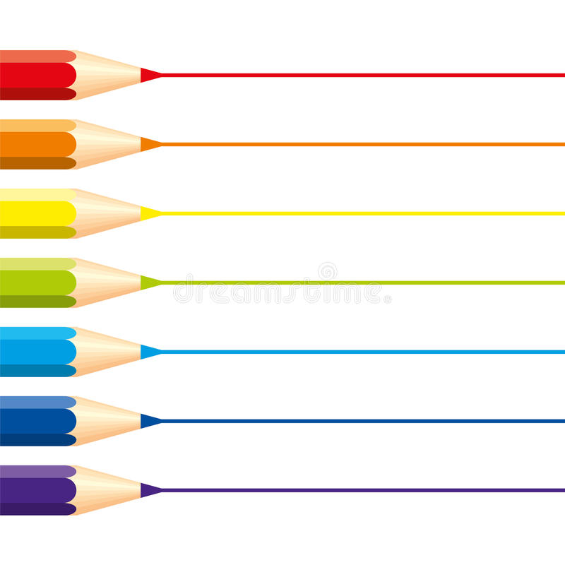 Set of isolated colored pencils: red, orange, blue, light blue, violet, green, yellow, with horizontal straight lines for note, on royalty free illustration