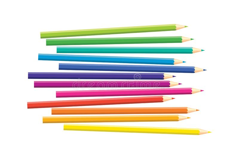 Set of isolated colored pencils on white background. Rainbow colors. Yellow, orange, blue, green, pink, purple, red royalty free illustration