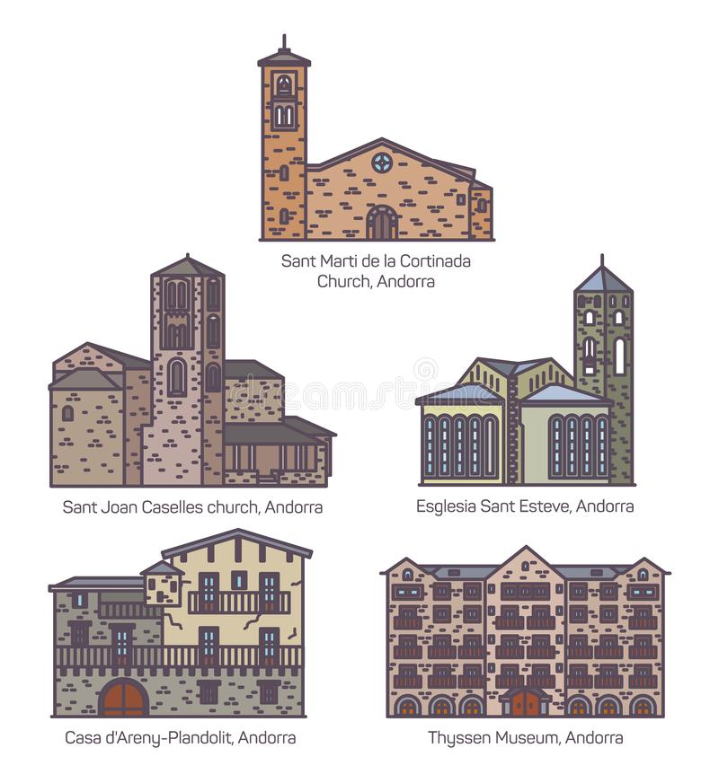 Set of isolated colorful Andorra church and castle. Set of isolated colorful Andorra icons of Thyssen museum and Noblesse temps by Salvador dali, landmark of stock illustration