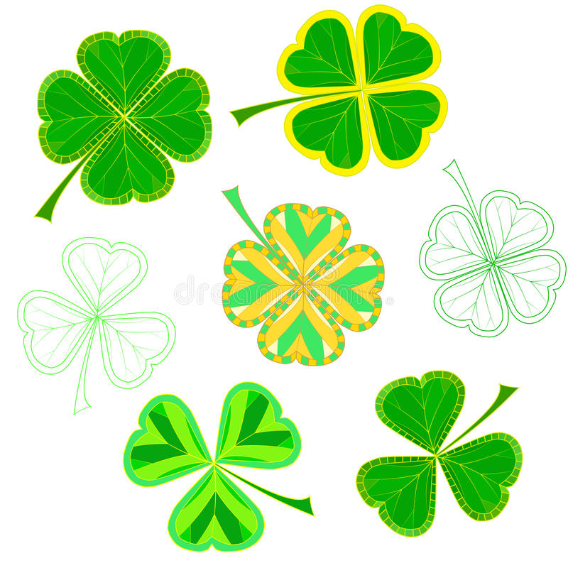 Set of isolated colorfull mosaic clover leaves on white background. easy to modify. royalty free illustration