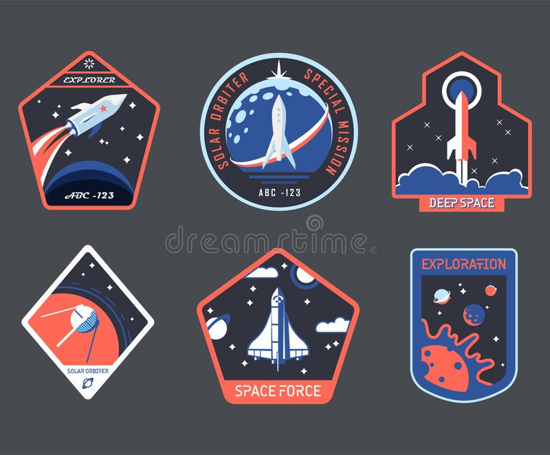Set of isolated cosmos or universe concept chevron vector illustration