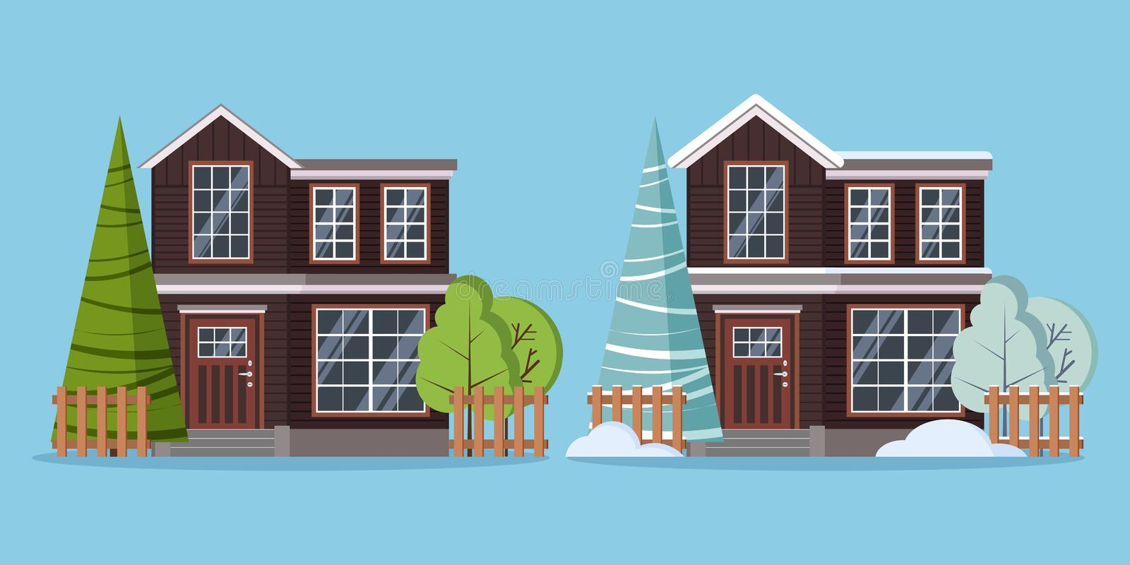 Set of isolated country rural two storey farm winter and summer houses with fences stock illustration