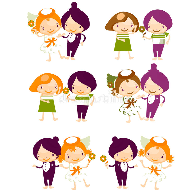 Download Set Of Isolated Couple Cartoon Stock Illustration - Image: 15050960