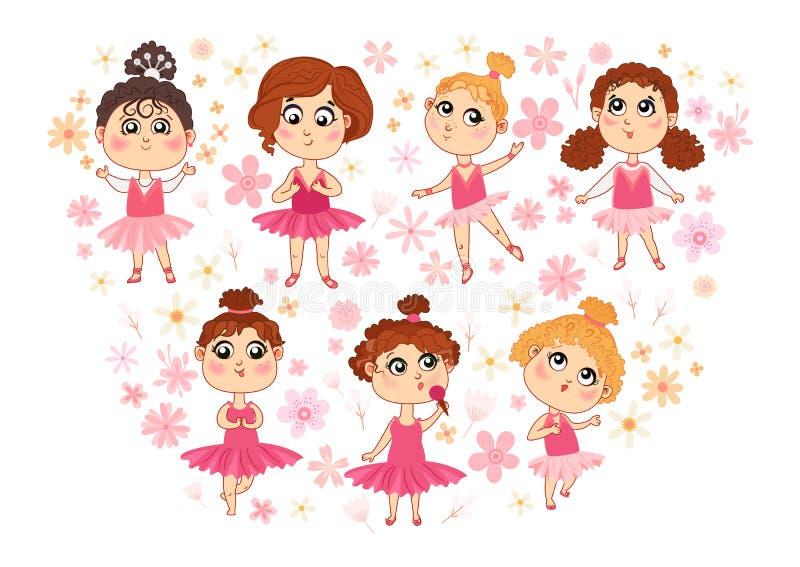 Set of isolated cute ballerina vector illustration