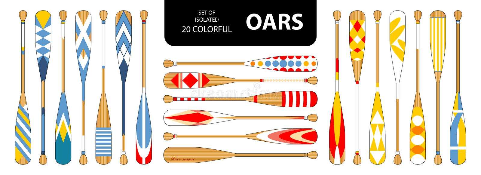 Set of isolated 20 cute colorful oars in red, blue, yellow tone. stock illustration