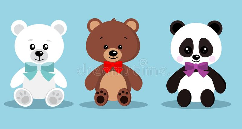 Set of isolated cute elegant holiday teddy toy bears with bow tie in sitting pose: brown bear, polar bear, panda on blue royalty free illustration